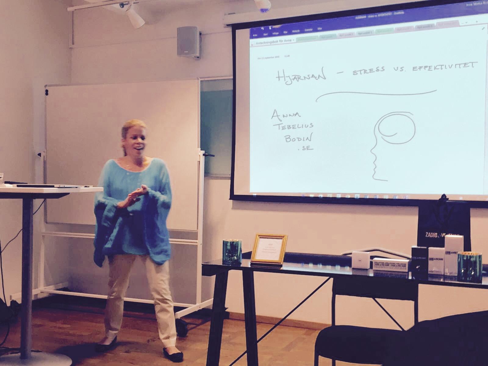 Anna Tebelius Bodin föreläste om hjärnans reaktioner vid stress